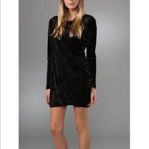 Juicy Couture black velvet draped bodycon mini